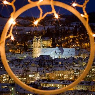 Weihnachtskarte: Altstadt St.Gallen vom Rosenberg
