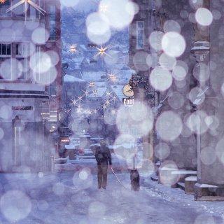 Weihnachtskarte: Marktgasse St.Gallen mit Schnee