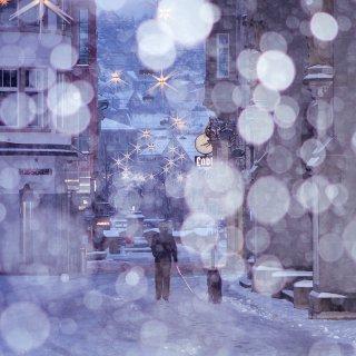 Faltkarten: Marktgasse St.Gallen mit Schneefall
