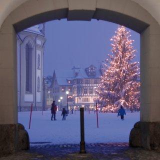 Karte: Durchgang zum Kloster St.Gallen mit Weihnachtsbaum