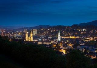 Faltkarten: St.Gallen beim Eindunkeln