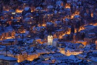 Faltkarten: Blick von der Bernegg auf St.Mangen