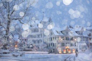 Faltkarten: Gallusplatz bei Schneefall