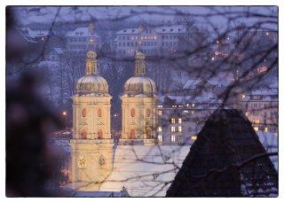Postkarte: Blick vom Rosenberg aufs Kloster St.Gallen