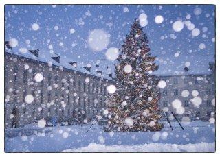 Postkarte: Christbaum Klosterplatz St.Gallen bei Schneefall