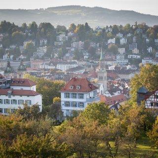 Faltkarte: Blick über die Stadt St.Gallen