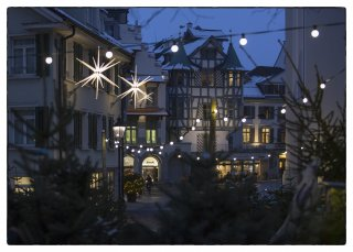 Postkarte: Christbaumverkauf Gallusplatz
