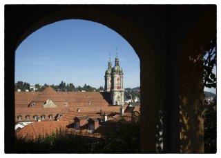 Postkarte: Blick von der Felsenstrasse aufs Kloster St.Gallen