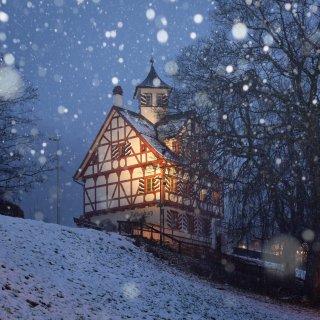 Faltkarten: Falkenburg im Schneegestöber