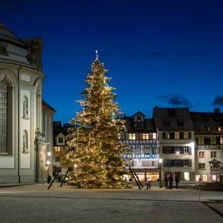 Faltkarten: Weihnachtsbaum im Abendlicht, Klosterlatz St.Gallen