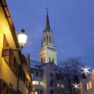 Weihnachtskarte: St.Laurenzen St.Gallen, Blick aus der Zeughausgasse
