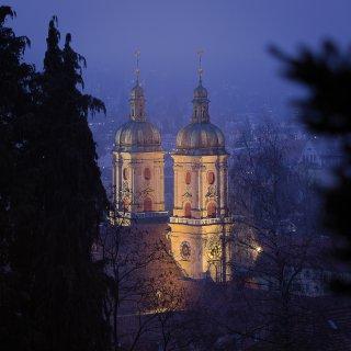 Weihnachtskarte: Blick von der Gottfried-Keller-Strasse aufs Kloster St.Gallen