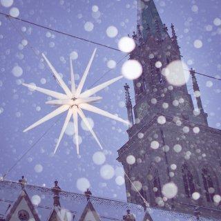 Weihnachtskarte: St.Laurenzen St.Gallen im Schneefall