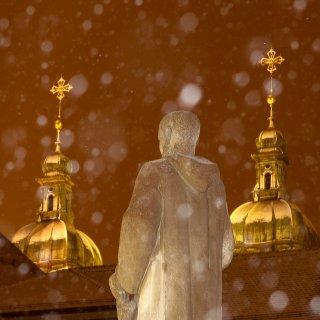 Weihnachtskarte: Gallus blickt aufs Kloster St.Gallen